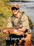 Picture of Teo Whitlock holding large rainbow trout caught on the South Holston River